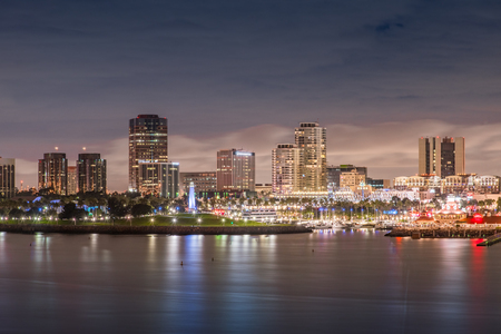 Long Beach California at night in cloudy night with port and city light up , USA