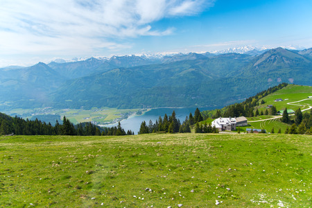 St. Wolfgang mountain top with lake and city view, Austria