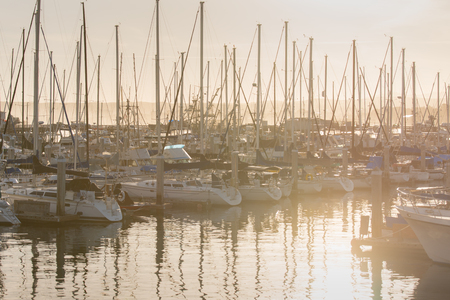 Sunrise and Yatchs in Pier ,removed all trademarks , California 版權商用圖片