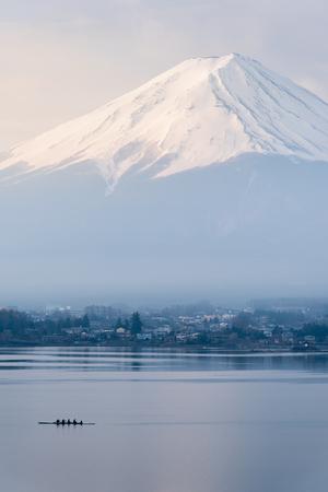 Vertical Mount Fuji Fujisan from Kawaguchigo lake with Kayaking in foreground ar Yamanashi Japan