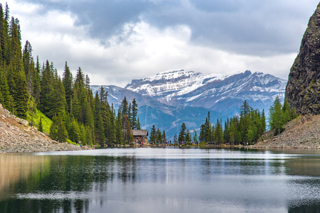 Tea house on the hiking trail at lake Louise with full of hiker around the world , Alberta, Canada