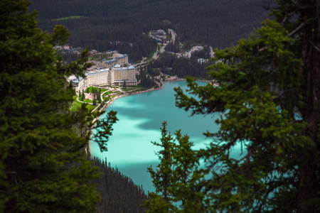View from the top of the mountain of hotel at Lake Louise with turquoise color in the lake in summer, in Alberta ,Canada 版權商用圖片