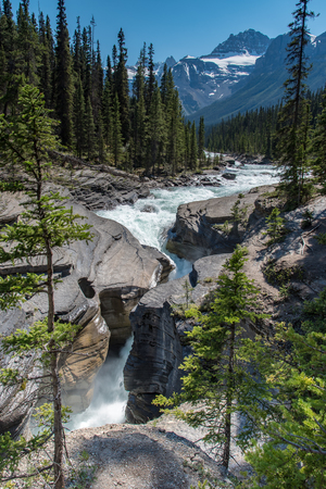 Mistaya Canyon in Summer sunny day,Alberta,Canada. 版權商用圖片