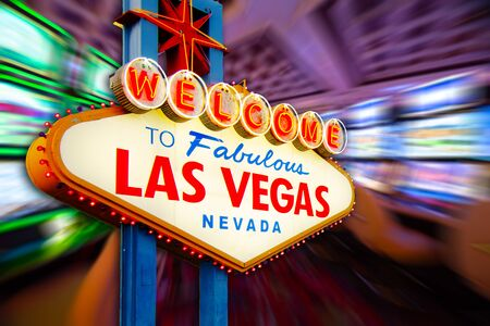 Welcome to Never Sleep city Las Vegas, Nevada Sign with the casino slot machines in blur background. (all logo had been removed).