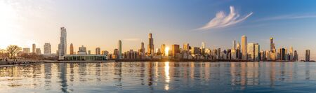 Panorama Chicago downtown skyline sunset Lake Michigan with most Iconic building from Adler Planetarium, Illinois, USA
