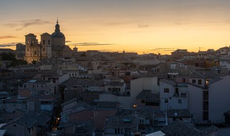 Toledo cityscape sunset time before night, Spain