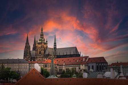 Prague Castle with cloudy sunset