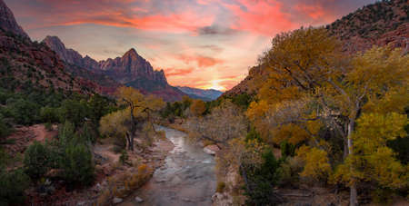 Zion National Park in Autumn sunrise hikie with river along the way