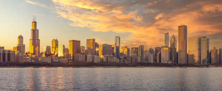Chicago downtown skyline sunset Lake Michigan with buildings, Illinois, USA