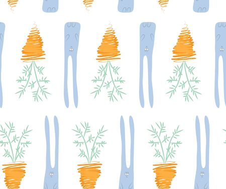 Seamless pattern of a rabbit and a carrot vector illustration Banco de Imagens - 89581496