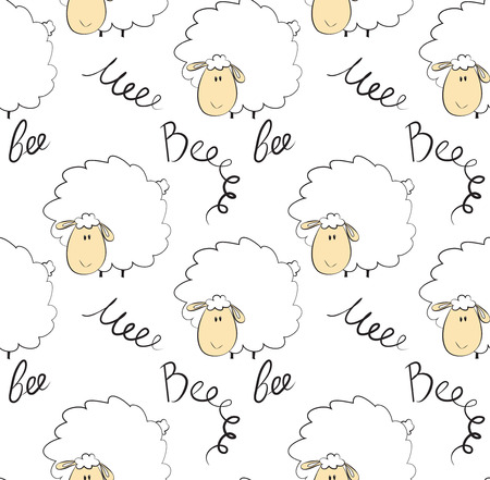 Seamless pattern of a sheep over white background
