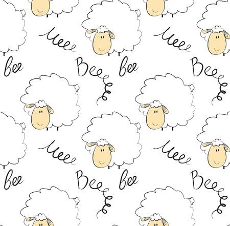 Patrones sin fisuras de una oveja sobre fondo blanco Ilustración de vector