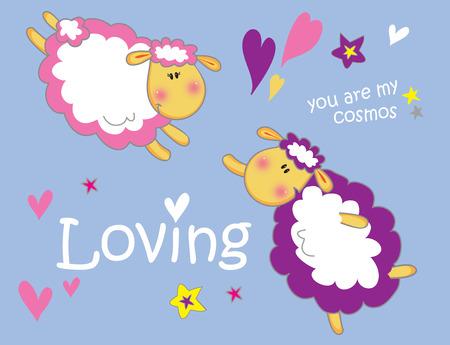 Illustration of sheeps in love vector illustration