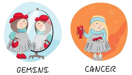 Gemini and Cancer cartoon girls vector illustration