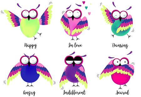 Set of colored owls. Different emotions, vector. In love, scared, dancing, indifferent, angry and happy feelings.