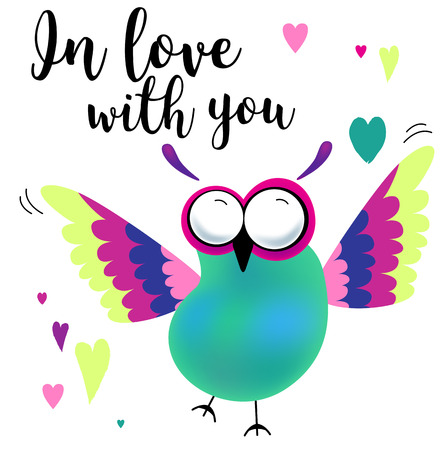 Valentines day card with cartoon owls. Vector colored illustration. Pretty birds. Illustration