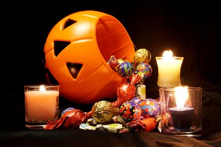 Halloween prop pumpkin and candy