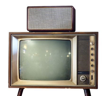 Vintage Television isolated over white background - With Clipping Path Reklamní fotografie