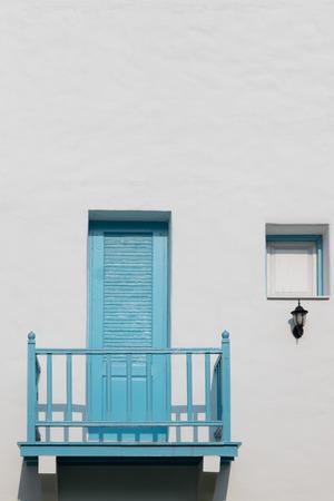 buliding: Blue Balcony in white buliding