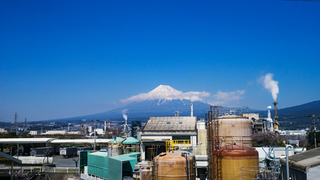 Photo: Japan industrial zone and Mountain fuji at Shizuoka prefecture