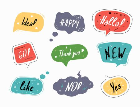 Set of color speech bubbles in drawn style.  Dialog windows with phrases: Idea, Happy, Hallo, Go, Thank you, New, Like, No, Yes