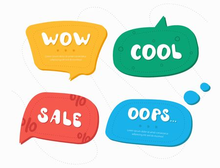 Set of four color speech bubbles in drawn style.  Dialog windows with phrases: Wow, Cool, Sale, Oops Illustration
