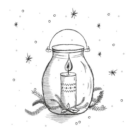 Hand drawn illustration. Hygge candle. Scandinavian hygge concept