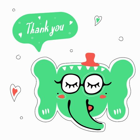 Cute animals stickers. Color illustration with elephant and speech bubble thank you