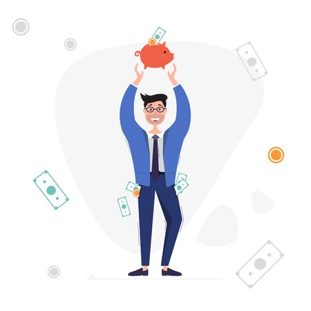 Businessman with piggy bank. Man with money in his pockets. Saving and investing money concept. Vector illustration on white background