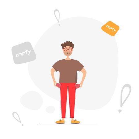 Man with empty pockets. Man has no money. Vector illustration on white background