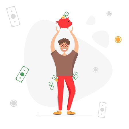 Man with piggy bank. Man with money in his pockets. Saving and investing money concept. Vector illustration on white background Ilustração