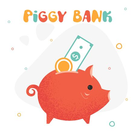 Piggy bank color illustration. Piggy bank full of money. Investment in the future