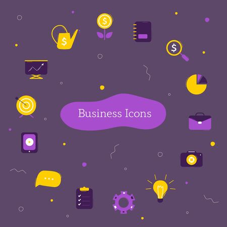 Business icons collection on dark background. Symbols for use on website or infographics. Vector icons template
