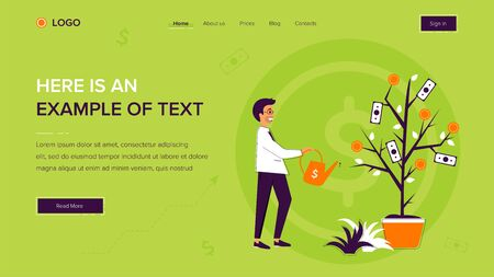 Businessman watering a money tree. Website template on green background. Home page layout. Vector illustration concepts for web and app development