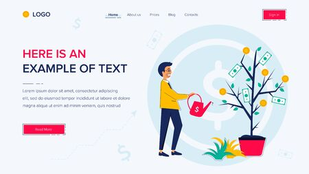Businessman watering a money tree. Website template on white background. Home page layout. Vector illustration concepts for web and app development Ilustração