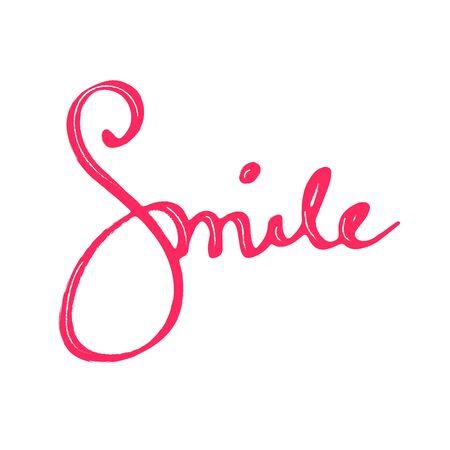 "Beautiful hand drown inscription ""Smile"". Inspirational lettering isolated on white background Vektorgrafik"