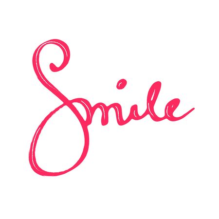 """Beautiful hand drown inscription """"Smile"""". Inspirational lettering isolated on white background Vector Illustratie"""
