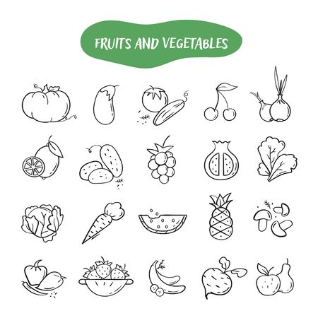 Hand drawn line style icons of Fruits and Vegetables. Doodle icons set