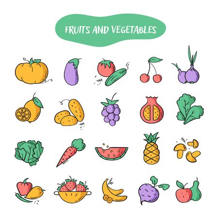 Hand drawn line style icons of Fruits and Vegetables. Doodle color icons set