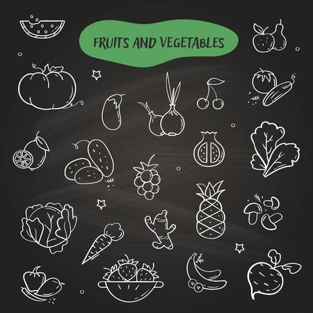 Hand drawn line style icons of Fruits and Vegetables. Doodle icons set on black background