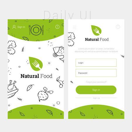 Green app design template of natural food. Concept food interface design. Modern flat design template