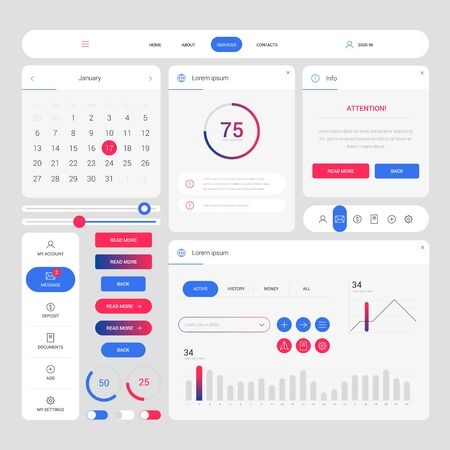 Color modern web design elements frame template. Web elements with navigation, buttons, icons for use on the site. Daily ui. Web interface template