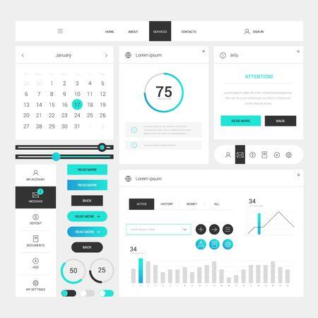 Modèle de cadre d'éléments de conception web moderne sur fond blanc. Éléments Web avec navigation, boutons, icônes à utiliser sur le site. Interface utilisateur quotidienne. Modèle d'interface Web Vecteurs