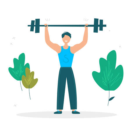 Man raises the barbell. Summer sport illustrations collection. Sportsman. Active lifestyle concept