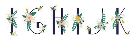 Ñollection with 5 letter of floral alphabet - f, g, h, i, j, k. Spring and summer alphabet decorated with bouquets of flowers. Hand drawn isolated vector illustration