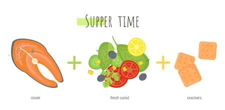 Supper time which consists of fish, salad and crackers. Isolated cartoon dishes. Doodle color set of ingredients and products for cooking Ilustração Vetorial