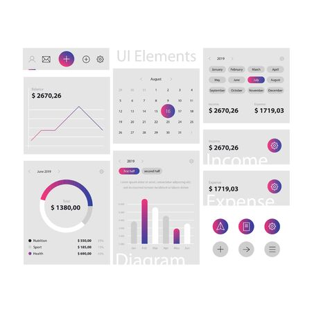 Minimal web and app ui elements template on gray background. Web interface with navigation, buttons, icons for use on the site. Daily ui