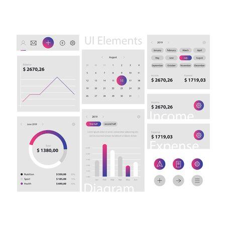 Minimale Web- und App-UI-Elemente-Vorlage auf grauem Hintergrund. Webinterface mit Navigation, Schaltflächen, Symbolen zur Verwendung auf der Site. Tägliche Nutzung