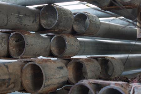 deconstruct: Steel pipe piles Stock Photo
