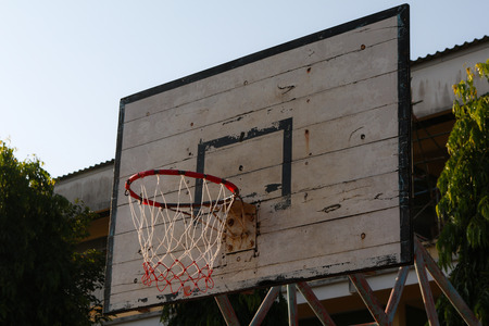 backboard: Basketball Hoop and Court With wood White Backboard,street basketball board with the blue sky Stock Photo